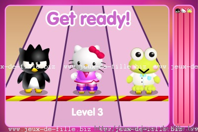 jeu de fille La course de hello kitty